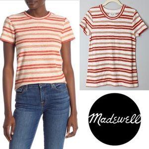 MADEWELL Striped Knit Shrunken T-Shirt Size Small